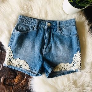 BDG High Rise Erin Denim Crochet Jean Shorts 25